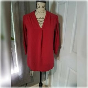Pleione Red Pleated Blouse